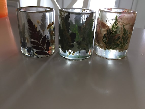Real Flower Clear Shot Glass- Wildflower and Fern Bar Cart- Botanical Decor- Elegant Barware- Clear Resin and Flower Shot Glass