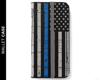 Thin Blue Line iPhone Wallet Case, Police Wallet Case, iPhone 8 Case, Samsung Wallet Case, Police iPhone Case, iPhone 8 Thin Blue Line Case
