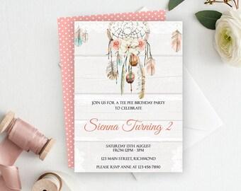 Dreamcatcher Invitation, Boho Invitation, Tribal Invitation, Printable Invitation, Bohemian Invite, Birthday Invitation, Baby Shower Invite