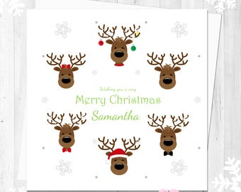 Cute Reindeers Personalised Christmas Card CHANGE ANY WORDING Daughter Son Friend Mum Dad Grandma Grandad Special Couple Keepsake Card