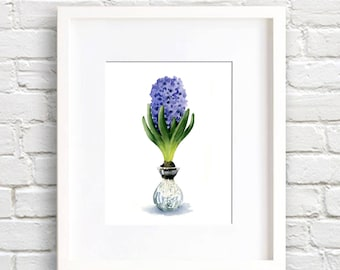 Hyacinth Art Print - Hyacinth Flower Wall Decor - Floral Watercolor Painting