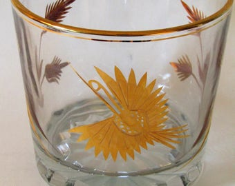 Vintage Lead Crystal Ice Bucket With 24KT Gold Trim