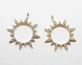 P0719/Anti-Tarnished Gold Plating Over Brass + Cubic Zirconia/Cubic Sun Pendant/19.5x22mm/1pcs