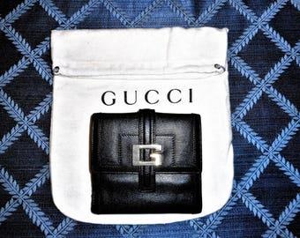 VINTAGE GUCCI WALLET Black 4.5 x 4 x 1 W/Flannel Dust Bag