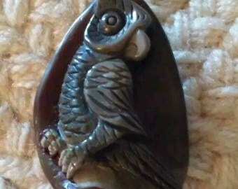 Carved succor creek Jasper owl pendant