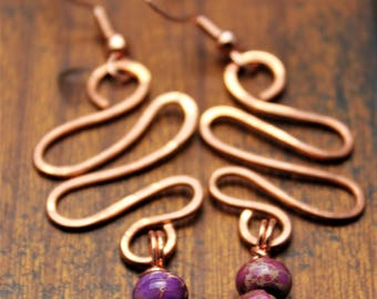 Copper wire zig zag earrings with imperial dyed purple stone
