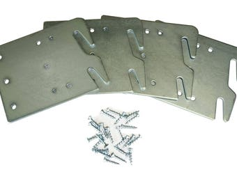 Bed Rail Hook Plates Wood Bed Rail Restoration Assembly [Includes 32 Screws] - Set of 4