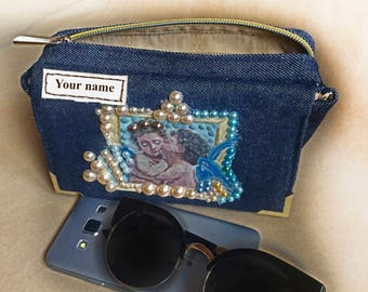 Hip bag Festival Hip pouch Phone Fanny pack for Traveling Birthday Denim Fanny pack Waist Bag Festival Women Personalize belt coin purse