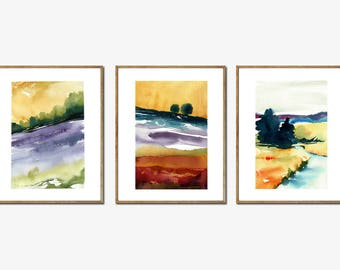3 Watercolour Italian Landscapes - DISCOUNTED! A3 - A4 size - Fine Art Print - Limited Editions - Inspired by landscape in Italy