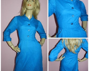 15% off Vintage 50s Bright Blue SECRETARY Day dress 10-12 Mad Men 1950s MID CENTURY Office