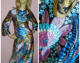 Vintage 70s Bold PSYCHEDELIC Flower Power Maxi dress 10 S 1970s Wide sleeves Bright Unique Cowl neck