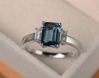 London blue topaz ring, promise ring, emerald cut blue gemstone, November birthstone, sterling silver ring