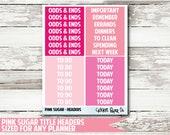 Pink Sugar Title Header Planner Stickers