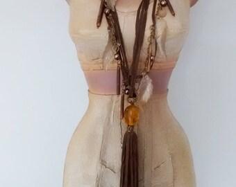 Vintage Long Beaded Tassel Necklace, Boho Necklace