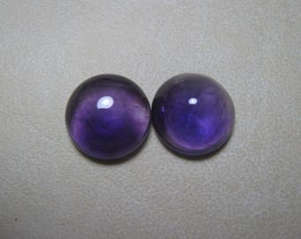 Natural African Amethyst Cabochon Round shape 2 Piece Loose Semi Precious Gemstone Size 15 mm code  9344 Wholesale