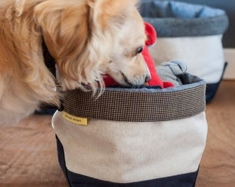 Dog toy storage bin // canvas with grey tweed wool lining - classic boat tote style - pet height - organizing bin - home decor