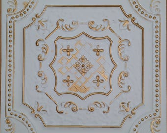ceiling tiles faux finished white gold color PL04
