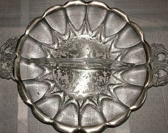 Vintage silver overlay glass bowl
