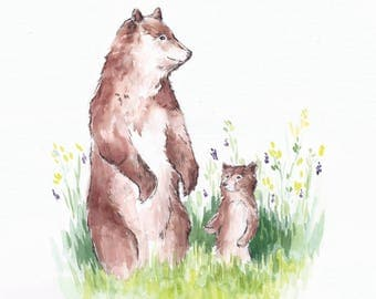 Mother and Child Bear, 9x12 giclée watercolor art print