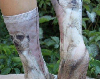 Meerkat Cool Animal Socks | Meerkat Lover Gift | Meerkat Birthday Gift | Meerkat Stocking Stuffer | Animal Sock | Fun Socks