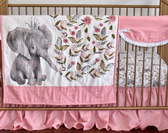 CUSTOM BEDDING -  elephant in crown, floral elephant, linen, scalloped rail guard, pink bedding, pink and white, gray elephant, baby girl