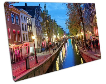 Amsterdam red light district canvas wall art picture large 75 x 50 cm C2509