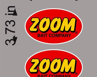 "ZOOM Fishing / PAIR / 6"" Vinyl Vehicle Watercraft Graphic Boat Decal Stickers"