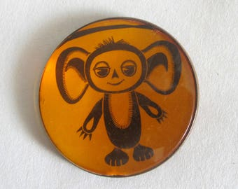 Pin Badge Cheburashka, Pin Back Button Soviet Cartoon Hero