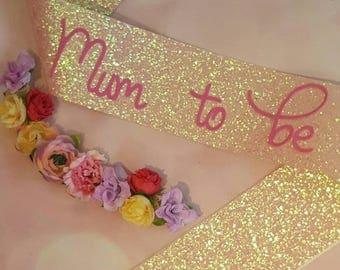 Baby Shower Pink Glitter Sash - Mum to be Sash - Gender Reveal Sash - Mummy to be Sash - Mother to be Glitter Sash - Baby Girl - Baby Boy