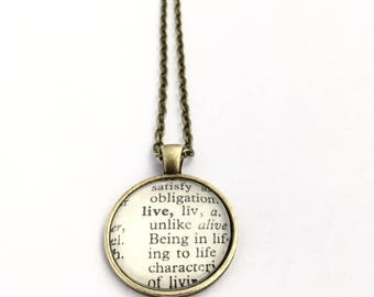 LIVE Vintage Dictionary Word Pendant