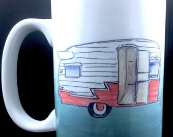 Coffee Mug Camper Coffee Mug Coffee Cup Ceramic Coffee Mug 15 oz Mug Camping Life