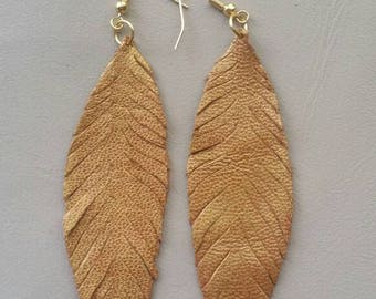 Leather feather earings