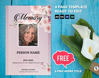 CHERRY BLOSSOM   Funeral Program Template, Obituary Program, Memorial Program Template, Microsoft Word and Publisher Template