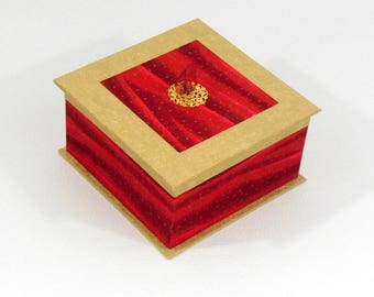 Red jewelry box and gold - box tidy red and gold