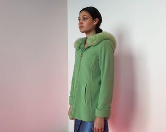 Mint Green Winter Coat with Fox Fur Hood