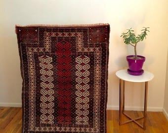 SALE Afghani wool rug, vintage,  3x4ft, brown orange cream