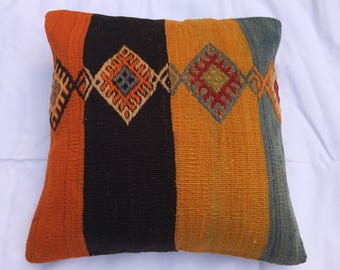 Beautiful kilim pillow, 16x16""