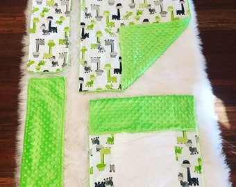 Minky Set includes Minky Baby Blanket, Minky Changing Pad, and 2 Minky Burp Rags with coordinating Giraffe Green & Gray Print