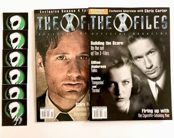 X-Files Magazines, Premiere Issue, Season Episode Guide, Alien Stickers, Mulder, Scully, Cigarette Smoking Man, Vintage Official Magazine