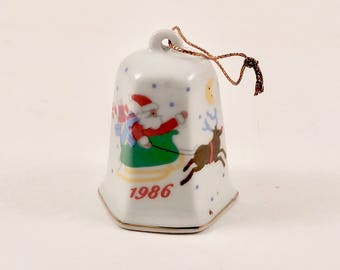 Vintage Christmas Tree Ornament Bell, Santa, Sleigh, Gifts, Reindeer, Gold Trim, 1986, Stocking Stuffer, Tree Decoration, Bell Decoration