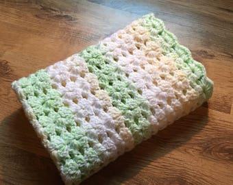 Green and Lemon Shell Baby Blanket