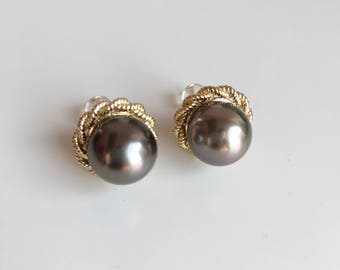 Tahitian Pearl Earrings Black Pearl Earrings Black Pearl Charm Pearl Jewelry Black Pearl Jewelry