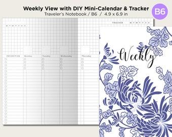 B6 Weekly View Vertical Traveler's Notebook Printable Insert With Tracker - DIY Mini-Calendar - Wo2P