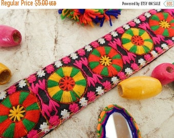 10% OFF Black Embroidered Trim, Mandala Trim, Indian Fabric Trim, Ethnic Embroidered Trim, Indian Ribbon - 1 yard