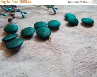 5% off Set of 10 Silk Fabric Buttons, 18mm buttons, Dupioni Silk Buttons, Decorative Buttons, Fabric Covered Buttons, Teal Green Buttons