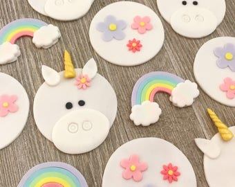 Unicorn Cupcake Toppers - Edible Fondant - Set of 12