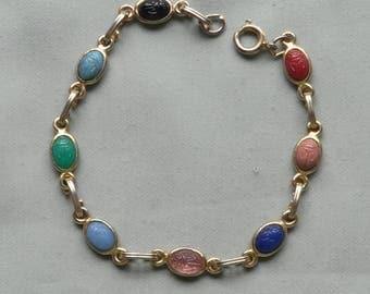 Vintage Original Scarab Bezel Set Gemstone Link Gold Plated Bracelet