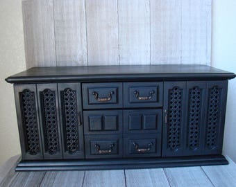 Large Black Jewelry Box, Black Valet Box. Large Valet Box, Vintage Valet Box, Large Jewelry Storage Box,  Chalk Painted Jewelry Box,