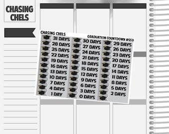 Graduation Countdown #SS9 Premium Matte Planner Stickers
