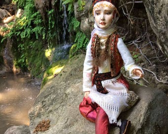 OOAK Polymer Clay Art Doll in the Ottoman Traditional Costume,  Ottoman Series  Boudoir Doll